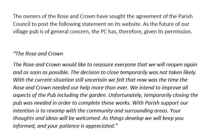 Rose And Crown - statement