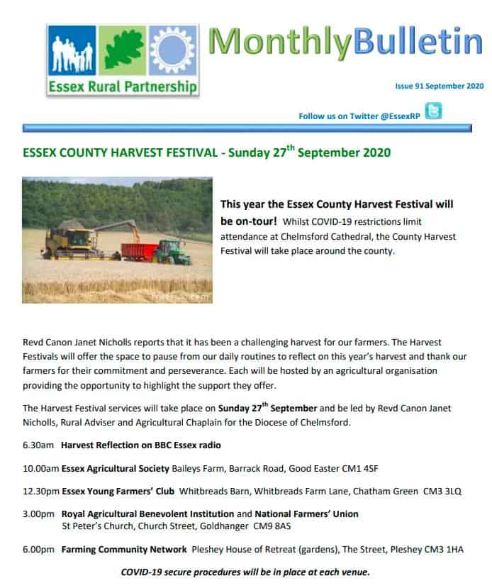 Essex Rural Partnership September Bulletin Cover Image