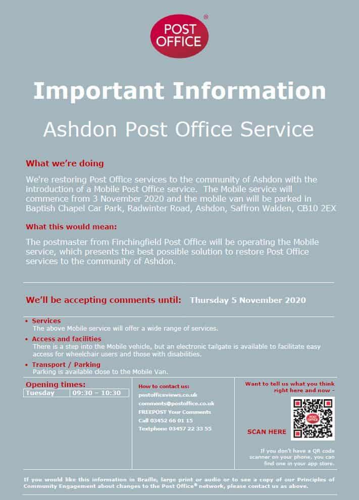 Ashdon Mobile Post Office