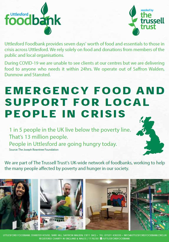 Uttlesford Foodbank Flyer - Front Cover