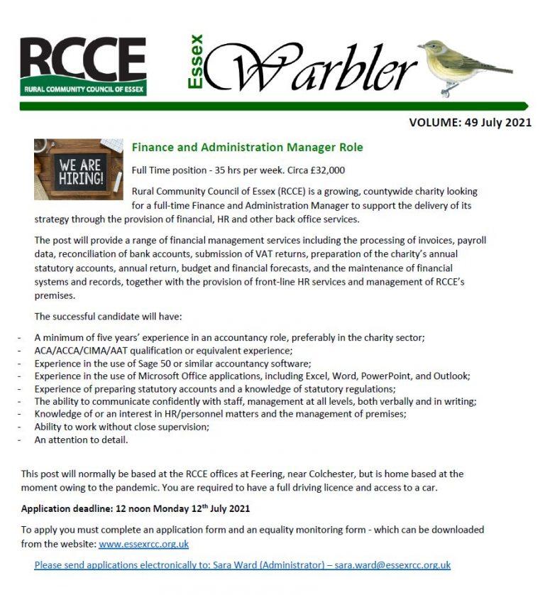 Rural Community Council of Essex Warbler Newsletter for July 2021.
